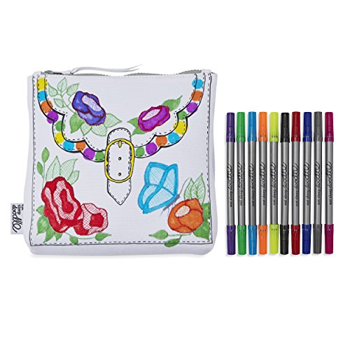 Eatsleepdoodle Fun Color in Children's Zipper Pouch - Great for Accessories or Stationery - to Decorate and Personalize with Included Washable Felt Tip Fabric Markers