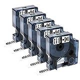 Sostituzione nastro per etichette compatibile Upwinning per cartuccia Dymo D1 45013 12 mm x 7 m, S0720530 per Dymo 160 210D 260P 280 360D 420P PnP 450 450D, nero su bianco, confezione da 5