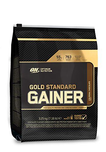 Optimum Nutrition Gold Standard Gainer Weight Gainer (mit Whey Isolat Eiweiß Pulver, Kohlenhydrate aus Hafer, Erbsen und Kartoffeln, Protein Shake von ON) Colossal Chocolate, 16 Portionen, 3,25kg