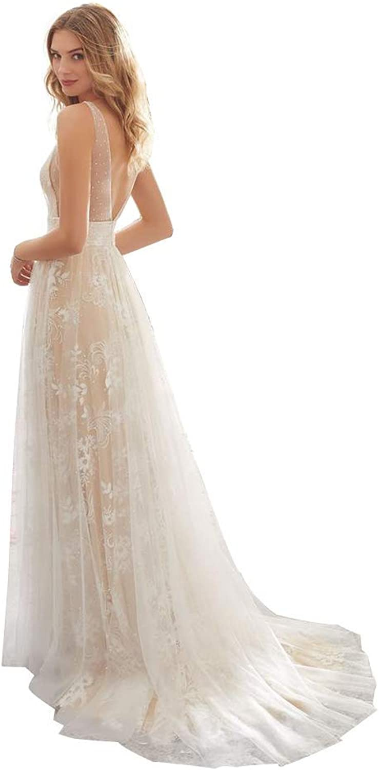 Women's Wedding Dress Wedding Dress Sexy BNeck Sleeveless Lace Wedding Dress Ball Gowns Evening Dress (Size   M)