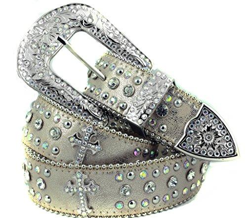 Deal Fashionista Light BEIGE CROSS Concho Western Rhinestone Bling Studded Removable Buckle Belt