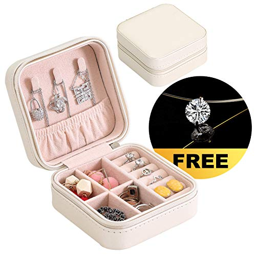 Travel Mini Jewelry Organizer and Accessories Holder for Woman, Best Gift for Her, Women on Mother's Day, Valentines Day, Anniversary, Christmas [White]