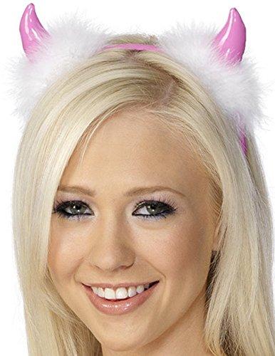 Rosa Teufelshörner mit rosa Haarreifen und weißen Marabufedern Accessoire Hörner Junggesellenabschied Karneval