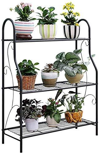 Mocosy 3 Tier Metall Pflanzenständer Scrollwork Design Indoor und Outdoor Blumenregal, Home Storage Organizer Regal, Silber Grau