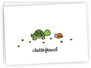 Hello Turtle and Snail Nature Note Cards - 24 Cards & Envelopes