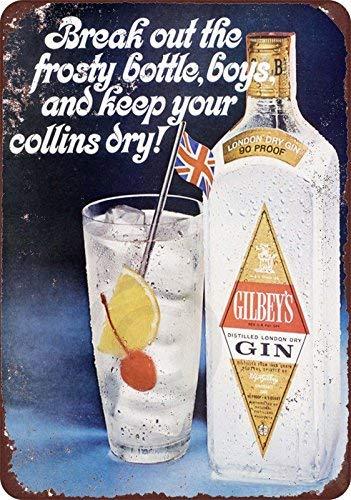 qidushop 1963 Gilbey's Gin Collins Cocktail-Reproduktion, Retro-Metall-Wanddekoration, Kunst-Laden, Mann, Höhle Bar, Garage, Aluminium, 20 x 30 cm
