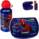 alles-meine.de GmbH 2 TLG. Set: Trinkflasche + Lunchbox / Brotdose - Spider-Man - inkl. Name - BPA frei - mit großen Fach - Brotbüchse Küche Essen - für Jungen Junge - Kinder VES..