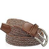 Gloop - Cinturón elástico de piel para hombre y mujer 18731A2, color marrón y blanco. longitud total sin hebilla 105 cm