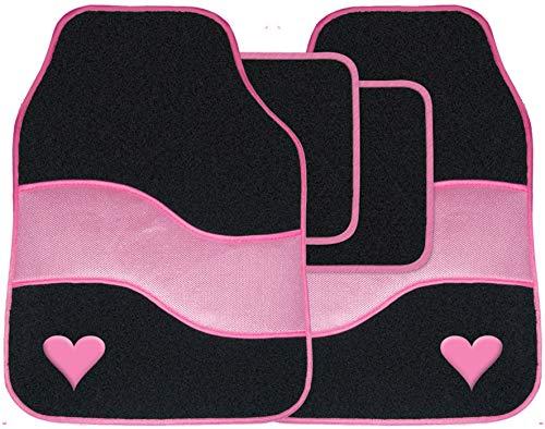Pink Car Mat Set Heart Carpet Universal Fit 4 Piece Anti Slip Back