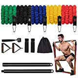 AMAZAYA Anti-Break Resistance Bands Set with Pilates Bar, Adjustable Workout Exercise Bands with Door Anchor & Handles for Full Body Strength Training, Home Gym Equipment