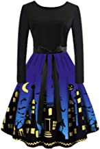 Vintage Halloween Dress,MOHOLL Women 1950s Plus Size Sleeveless Retro Dress Skull Pumpkin Printed A-line Cocktail Dresses