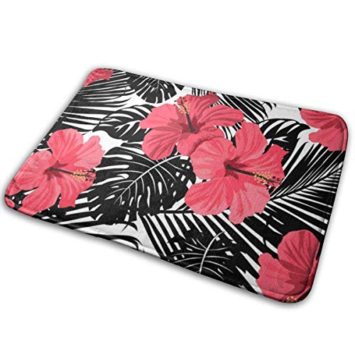 AOOEDM Red Hibiscus Flower Memory Foam Bath Mat Non Slip Ultra Absorbent Bathroom Rug Carpet, 15.7' X 23.5'