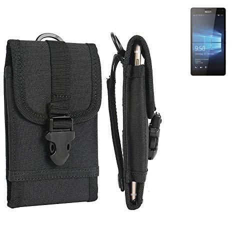 K-S-Trade Handyhülle Für Microsoft Lumia 950 XL Dual SIM Gürteltasche Holster Handytasche Gürtel Tasche Schutzhülle Robuste Handy Schutz Hülle Tasche Outdoor Schwarz