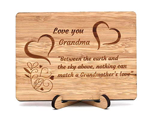 Zuaart I Love You Grandma handmade greeting cardwooden bamboo – Between the earth and the sky above, nothing can match a Grandmother's love - Mother's Day gifts Anniversar
