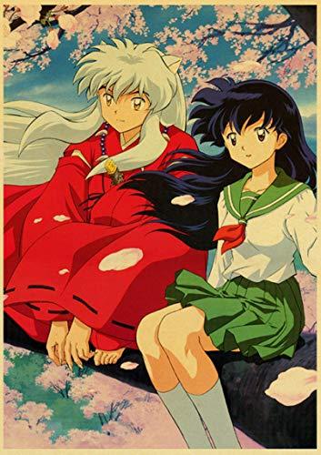 Póster de papel de Anime Inuyasha, pintura de pared, imagen artística, lienzo impreso en HD, estilo nórdico, sala de estar moderna, dormitorio, decoración del hogar 50x70cm Sin marco (JW-893)