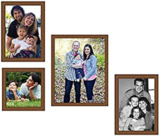 Art Street Collage Timeline Wood Wall Photo Frame (Brown,Set of 4 Wall Photo Frames)