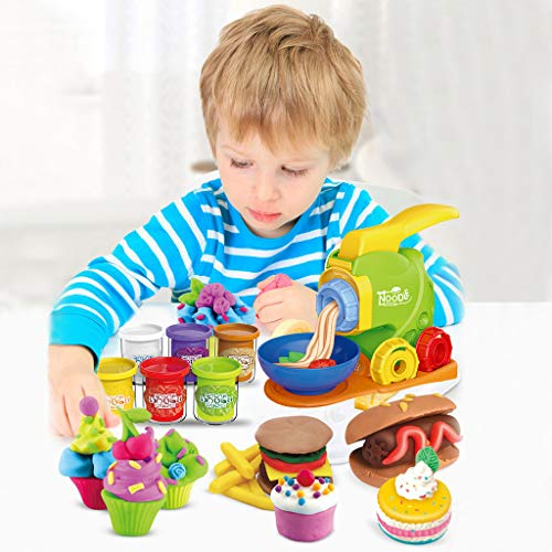 Fineday Magic Modeling Clay Cooking Toys Set-Pretend Play Noodle Maker for Kids, Pretend Play, Shipping from The US (Multicolor)