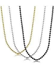 UM Gioielli Semplice Uomo Donna Acciaio Inossidabile Perline Link Catena Collane,Oro Nero Argento,3 Pezzi Un Set
