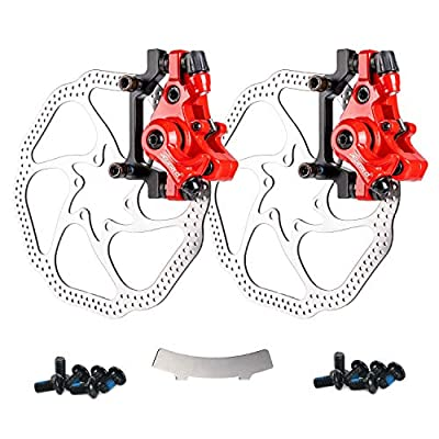 Farbetter Bike Disc Brake Kit, Including Front and Rear Caliper, 160mm Rotor, Mechanic Tool-Free Pad Adjuster for Mountain Bike, Road Bike, Fixed Gear Bike, MTB, BMX (Red)