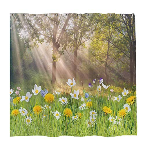 Allenjoy 72x72 inch Spring Grassland Floral Shower Curtain Sets Nature Forest Scenery Tree Sunshine Decor Home Bathroom Bathtub Curtains Durable Waterproof Washable Fabric with 12 Hooks