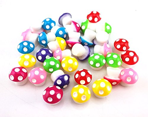 yueton 35pcs Colorful Little Mushroom Miniature Ornament for Dollhouse Decor Fairy Garden
