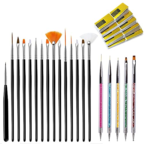 120 Stück Nail Art Pinsel Set, BetterJonny Acryl Punktierung Stift Nagel Kunst Pinsel Nagel-Schablonen Nageldesign Zubehör Punktierung Stift Nail Art Liner Pinsel Set für Nagelkunst Nageldesign