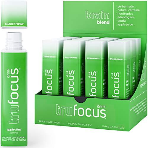 Tru Focus | All Natural Focus Energy Shots | Nootropics with Adaptogenic Herbs | Genius Brain Blend (Delicious Apple Kiwi, 12 pack)