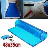 Lisyline Motorcycle Seat Gel Pad Shock Absorption Mats Reduce Fatigue Comfortable Soft Cooling Fabric Cushion Blue Cool DIY Saddle (48 x 35 x 2cm)