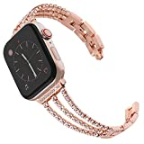 Surace Compatible with Apple Watch Bands 42mm Women Bracelet Diamond Jewelry Links Replacement for Apple Watch Bands 44mm Series 6 Series 5 Series 4 Compatible with Apple Watch SE Band, Rose Gold