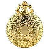 GNUIO Orologi da Tasca Gold Shield Corona Pattern Quartz Pocket Orologio da Tasca Collana Catena Pendente Steampunk Clock Collectibles Gioielli Regali (Color : 30cm Chain)