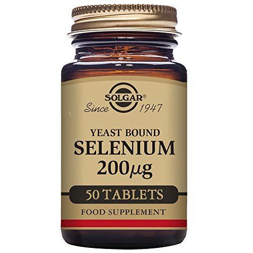 Solgar Selenio en Levadura Comprimidos de 200 µg - Envase De, Multicolor, 50 Unidades