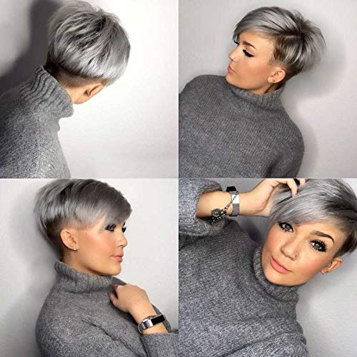 Naseily Short Ombre Gray Wig Short Synthetic Wigs For Black Women Short Wig Styles For Black Girls Short Pixie Cuts Styles