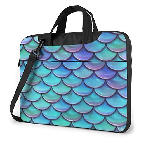 Best Mermaid Scales Laptop Shoulder Messenger Bag, Multi-Functional Notebook Sleeve Carrying Case with Strap & Trolley Belt for Lenovo Acer Asus Dell Lenovo Hp Samsung Ultrabook Chromebook 15.6 Inch