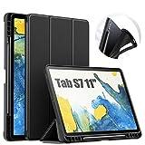INFILAND Funda Case para Samsung Galaxy Tab S7 11(SM-T870/T875) 2020, Estuche Carcasa Ligera TPU para S Pen,Smart Book Cover con Auto Reposo/Activación para Samsung Tab S7 11 2020,Negro