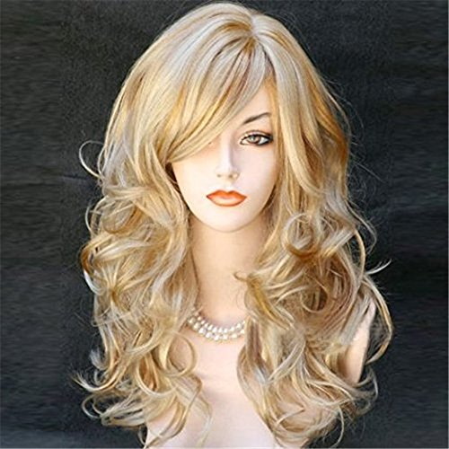 Kalyss Women s Long Curly Body Wavy Heat Resistant Blonde with Highlights Wig Synthetic Full Hair Wig for Women (Blonde with Highlights)