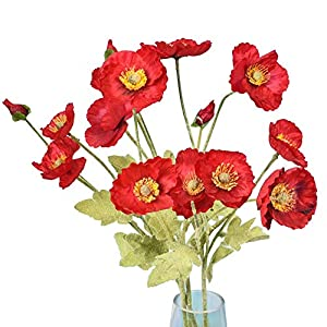 5 Pcs Artificial Corn Poppy Flowers, Silk Fake Poppy Bouquet for Wedding Holiday Bridal Home Party Decor Bridesmaid Bouquets (Red)