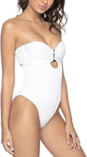 PQ Swim Women's White Pearl Detail 1-Piece Swimsuit - Back Tie Closure, Removable Padding - Large