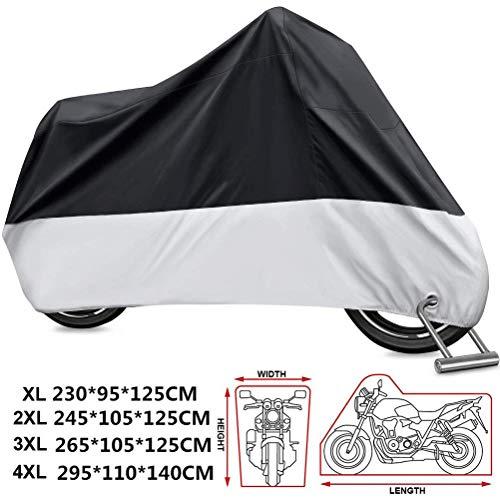 KOKOMALL Funda para Moto 210D Protectora Cubierta de Motocicleta Impermeable Exterior a Prueba de Polvo Anti UV con Agujeros de Bloqueo XL 230 x 95 x 125 cm