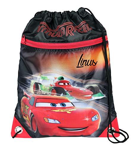 Turnbeutel mit Namen | inkl. NAMENSDRUCK | Motiv Cars | Personalisieren & Bedrucken | Schuhbeutel Sportbeutel Jungen Autos Kinder cool schwarz rot