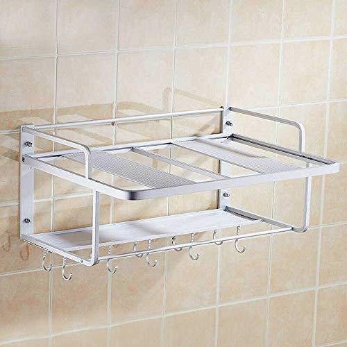 Wall Shelf Wall Mount Microwave Oven Shelf 2-Tier Bottle Jars Pot Pan Rack Organizer Stand Bracket Multifunction Kitchen Microwave Oven Rack Countertop Organizer Holder W/Removable Hooks