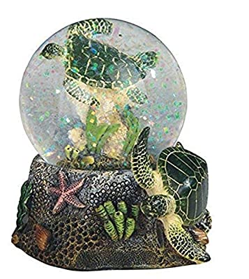 """StealStreet 3.75 Inch Marine Life Snow Globe with Sea Turtle Statue Figurine Collectible, 3.75"""", Green"""
