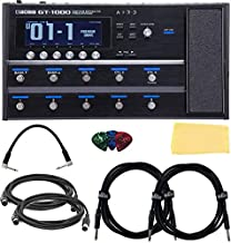 Boss GT-1000 Guitar Effects Processor Bundle with Power Supply, Patch Cable, 2 Instrument Cables, 2 MIDI Cables, Picks, and Austin Bazaar Polishing Cloth