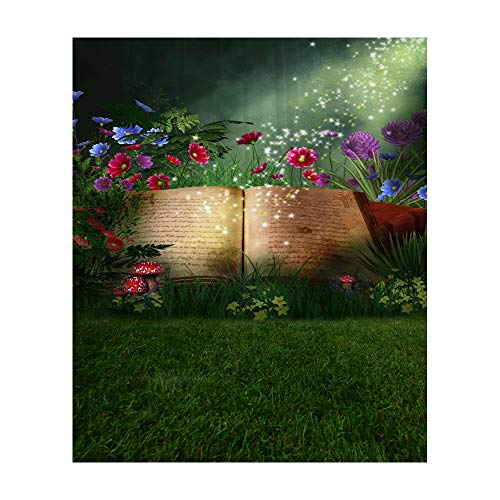 Laeacco 8x10ft Vinyl Photography Background Magical Elf Opening Book Fairy Tale Fantasy Woods Grass and Flowers Mushroom Enchanted Magic Backdrop Camera Shoot Background Video Studio Baby Princess