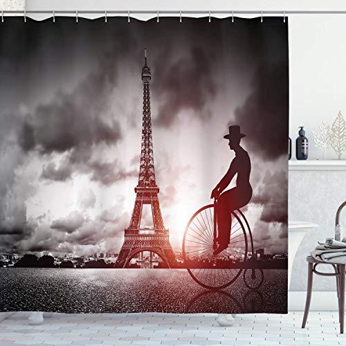 Alvaradod Cortina de Ducha Torre Eiffel,Hombre en Bicicleta Retro Junto a la Torre Eiffel París Francia Dramatic Sky Sun,Tela de Tela con,Gris Rojo con 12 Ganchos de plástico 180x180cm