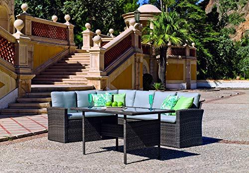 Atypik Home Salon De Jardin Sofa A Manger VARAL en Acier Resine tressee Grise Coussins Couleur Gris Mariland