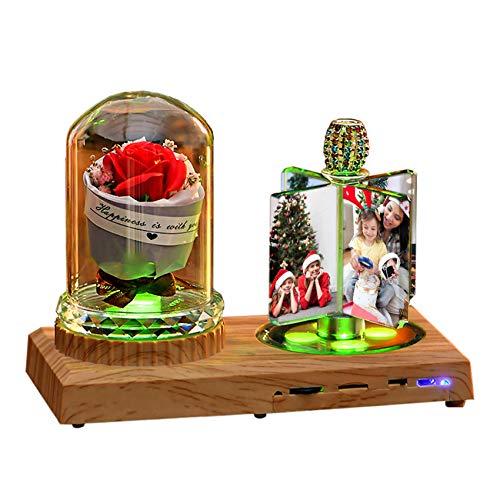 Luz De Foto Lámpara Bluetooth Personalizada Luz De Música Con 4 Imágenes Flor Rosa Rectángulo Álbum De Fotos Aniversario Cumpleaños Regalo Genial(Rosa Roja 18 * 20CM/7.1 * 7.9IN)