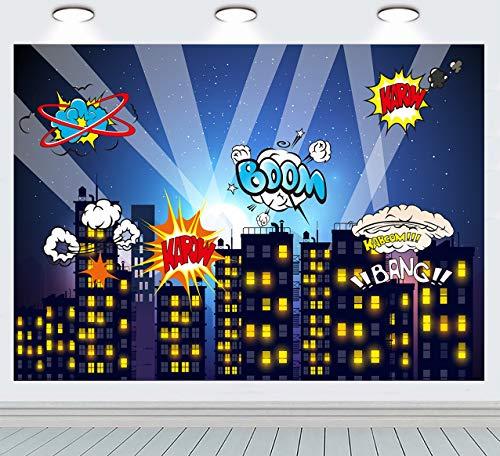 RUINI Superhelden-Foto-Hintergrund mit Sternen, für Kinderzimmer, Wanddekoration, Superhelden-Partyzubehör, Kindergeburtstag, Party-Hintergrund, Kuchen- und Dessert-Tisch 2,1 x 1,5 m