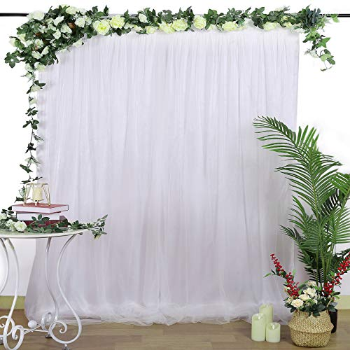 Tulle Backdrop Curtain White Photography Background Curtains Perfect for Parties Baby Shower Wedding 5ft x 7ft Drapes Backdrop