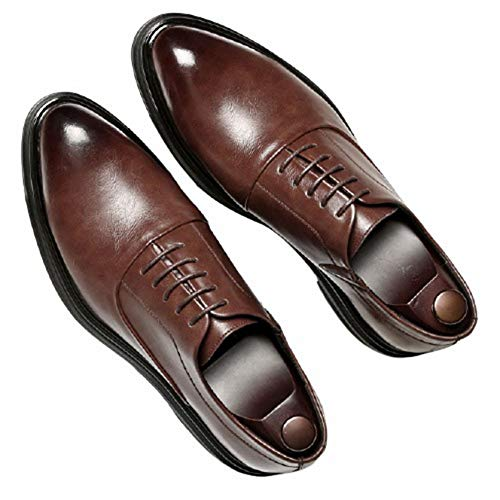 Zapatos Formales para Hombre, Zapatos Oxford clásicos de Color sólido, Zapatos de Cuero de Negocios con Cordones Ligeros y Puntiagudos a la Moda