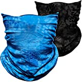 AXBXCX Elastic Seamless Moisture Wicking Face Mask Neck Gaiter Headband Bandana Hairband Sports Magic Scarf for Running Yoga Tennis Fishing Riding Cycling Blue+Black 6866